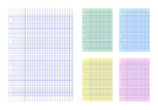 French ruled papers pack. Vector illustration of French ruled papers in white and differnts colors Royalty Free Stock Images
