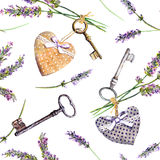 French rural background - lavender flowers, vintage keys, textile hearts. Seamless pattern, country style of Provence Royalty Free Stock Images