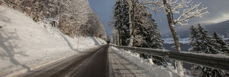 French Rural Road in Winter Stock Photo
