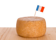 French rustic cheese on board with white background Stock Photo