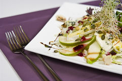 French salad. Plate of French salad elegantly served in restaurant Royalty Free Stock Photo