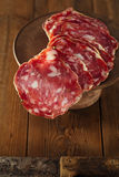 French Salami on a wood with Fennel Royalty Free Stock Images
