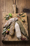 French Salami on Wooden Board Royalty Free Stock Images