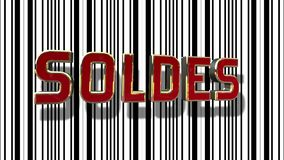 French Sale 3D Text With Barcode Abstract Line Background. French Sale Soldes Red And Gold 3D Text With Black And White Barcode Abstract Line Background vector illustration
