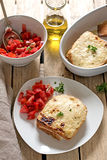 French sandwiches Croque-Monsieur with bechamel sauce and tomato. French sandwiches Croque-Monsieur with bechamel sauce, tomato salad and prosciutto ham stock image