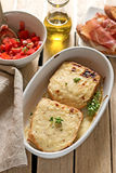 French sandwiches Croque-Monsieur with bechamel sauce Stock Photo