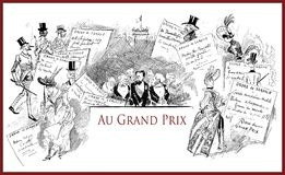 French satirical magazine 1888, grand prix invitations. French satirical magazine La vie Parisienne 1888, Grand Prix preparation,event invitations and service Royalty Free Stock Image
