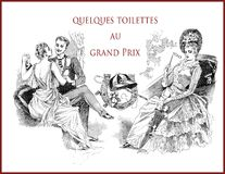 French satirical magazine 1888, Fashion at Grand Prix. French satirical magazine La vie Parisienne 1888, quelques toilettes au Grand Prix  some toilets at the Royalty Free Stock Image