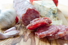 French saucisson with cheese Stock Photos