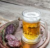 French saucisson sausage with glass of beer Royalty Free Stock Photography