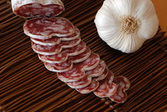 French sausage and aperitif. Very nice french sausage for aperitif, enjoy Royalty Free Stock Photos