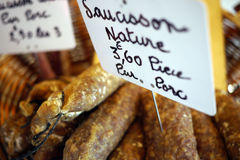 French sausage in market. French sausage with euro prices at a market Royalty Free Stock Image