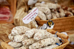 French sausage at street market. Provence, France Royalty Free Stock Photography