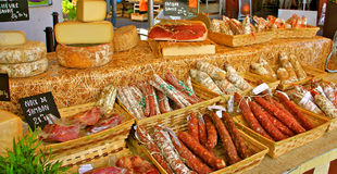 French Sausages at Farmer´s Market Royalty Free Stock Photo