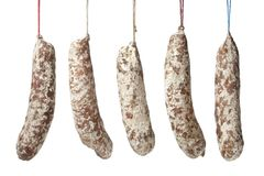 French Sausages hanging on a string royalty free stock image