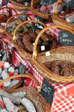 French sausages on the rural fair in Provence Stock Photo