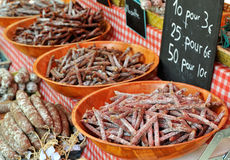 French saussage at Provence market Stock Image