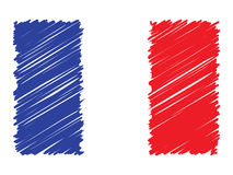 French scribbled flag, vector illustration. Royalty Free Stock Images