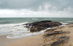 French sea shore with wild waves and rocks Royalty Free Stock Photography