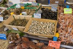 French seafood an street marke Royalty Free Stock Image