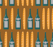 French seamless pattern. Baguette and wine. Royalty Free Stock Photography