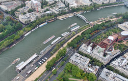 French-The Seine. French-A view of the Seine from the Eiffel Tower royalty free stock photos