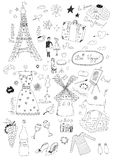 French Set. Hand drawn French doodles set Stock Photography