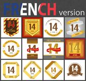 French set of number 14 templates. French set of number fourteen years 14 years celebration design. Anniversary number template elements for your birthday party vector illustration