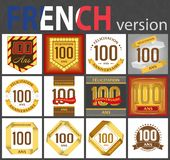 French set of number 100 templates stock illustration