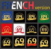 French set of number 69 templates. Set of number 69 sixty-nine years celebration design. Anniversary golden number template elements for your birthday party stock illustration