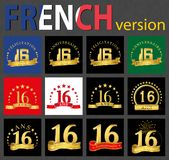 French set of number 16 templates. Set of number 16 sixteen years celebration design. Anniversary golden number template elements for your birthday party stock illustration