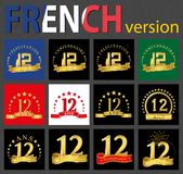 French set of number 12 templates. Set of number 12 twelve years celebration design. Anniversary golden number template elements for your birthday party stock illustration