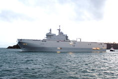 French ship Dixmude L9015  amphibious assault ship Royalty Free Stock Images