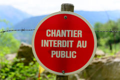French sign indicating a construction site Stock Image