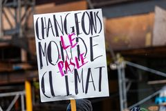 Activists marching for the environment stock image