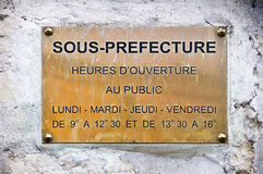 French sign sous prefecture Royalty Free Stock Photography