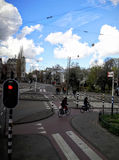 The busy junction in Amsterdam Stock Photos