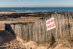 French sign Unguarded beach on wood fence Stock Images