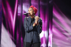 French singer Imany Nadia Mladjao performs on stage Stock Photography