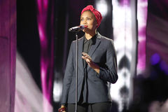 French singer Imany Nadia Mladjao performs on stage Stock Image