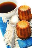 French small cake and cup of tea. Stock Photo