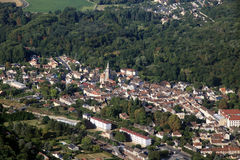 French small town aerial view Royalty Free Stock Images