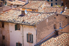 French small town view from above. Royalty Free Stock Image