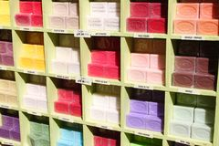 Colourful French soap bars in market Royalty Free Stock Images