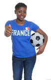 French soccer fan with ball showing thumb up Royalty Free Stock Photo