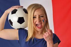French soccer fan cheers football team. Stock Images