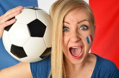 French soccer fan cheers football team. Royalty Free Stock Photography