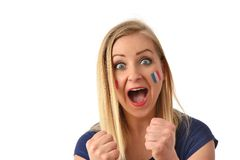 French soccer fan cheers football team. Royalty Free Stock Photo