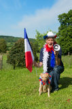 French Soccer fan with dog and megaphone royalty free stock image