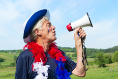French Soccer fan with flag Royalty Free Stock Photos
